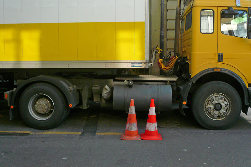 Cones and lorry