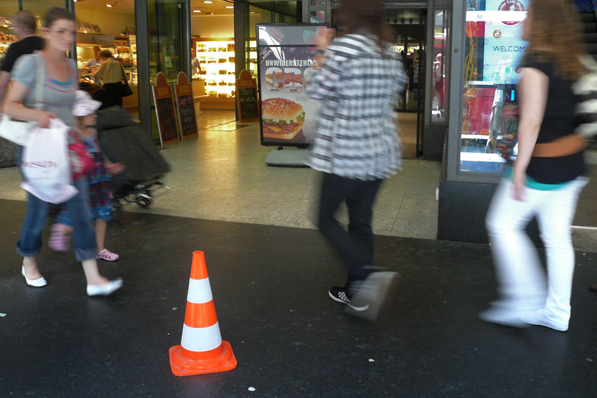 Cone and people