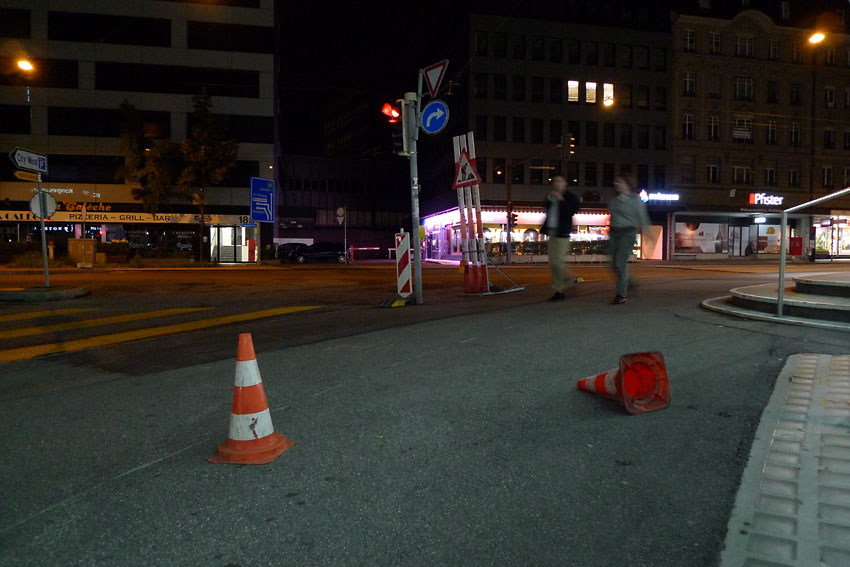 Two cones at night
