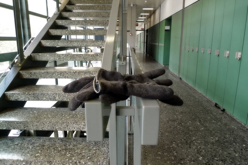 Lost gloves in staircase