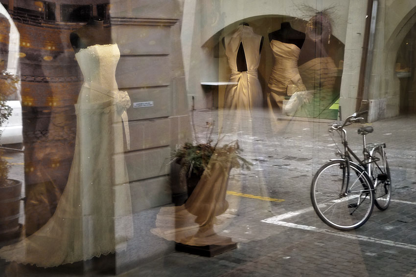 Wedding dresses and bike