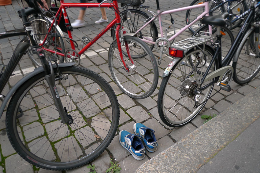 Lost shoes with bikes