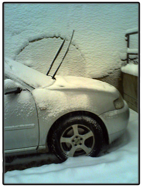 Parked car in snow