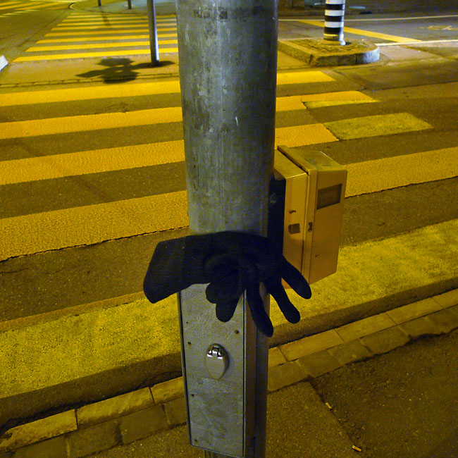 Lost glove at night