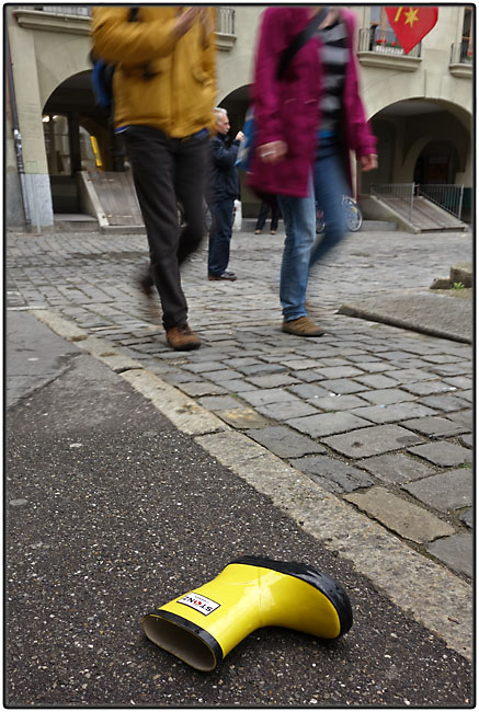 Lost yellow rubber boot