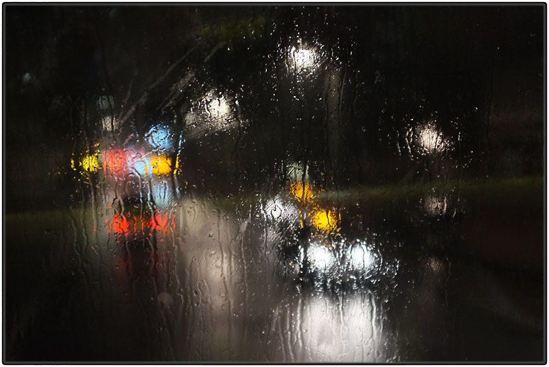 Bus ride on a rainy night