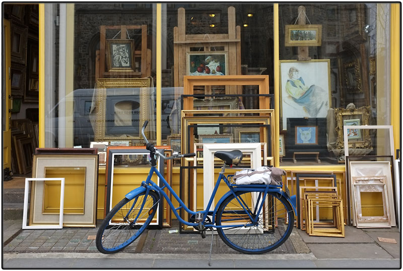 Blue bike and frames