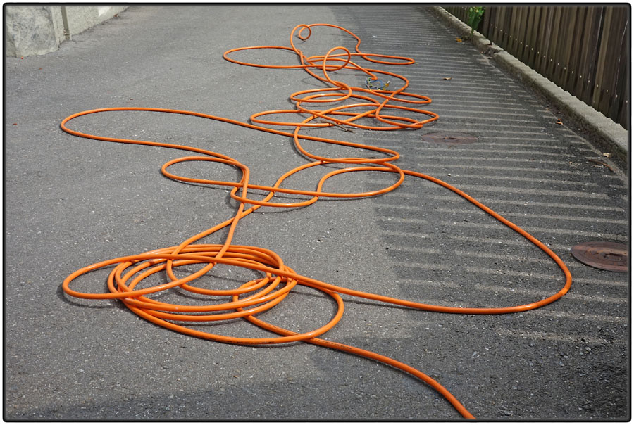 Orange electric cable