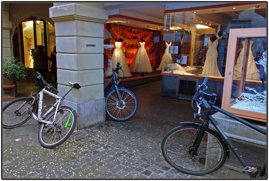 Bikes and wedding dresses