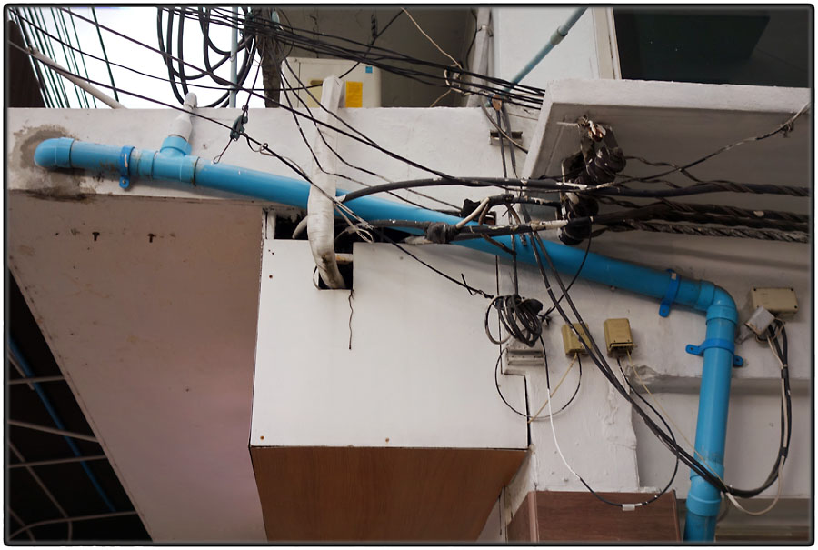 Blue tube and wires
