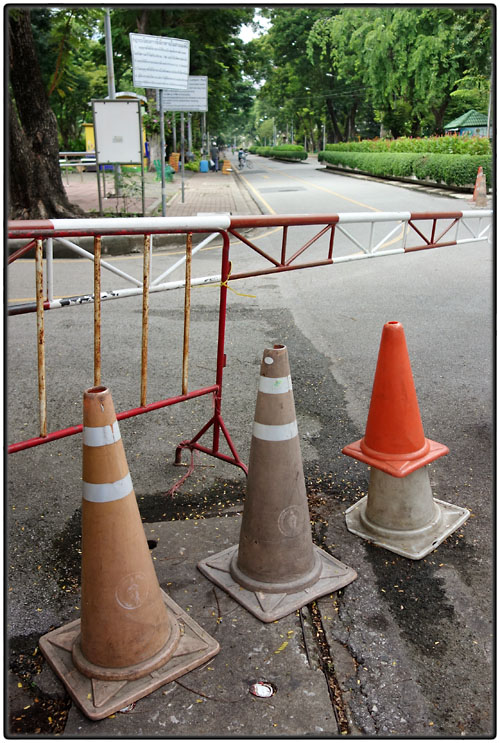 Four Thai traffic cones