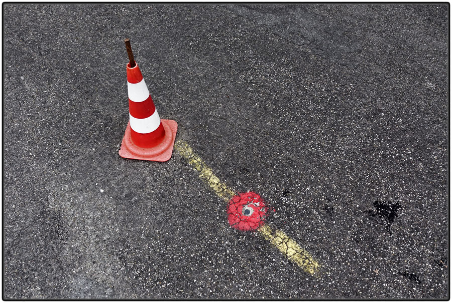 Traffic cone and street marking