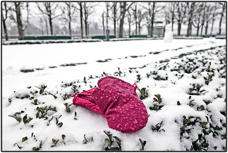Lost pink glove in snow