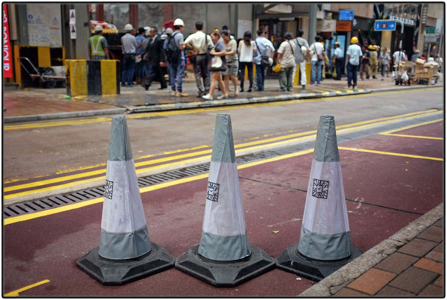 Three traffic cones ...
