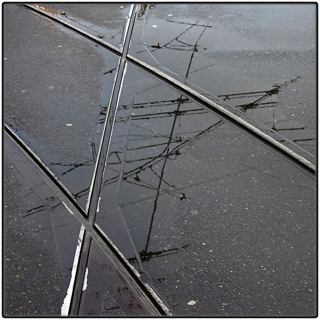 Tram tracks and overhead wires