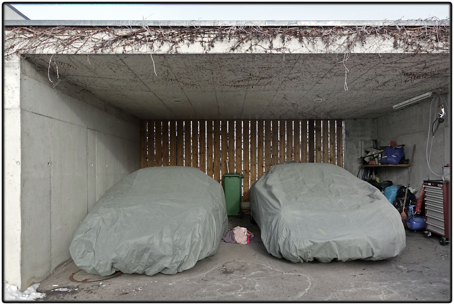 Two wrapped cars