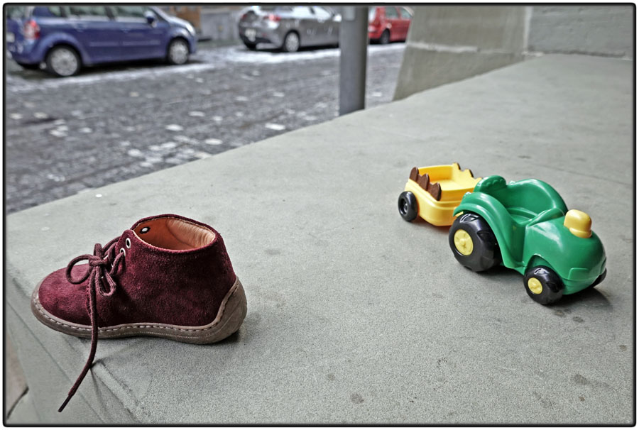 Lost baby shoe and toy